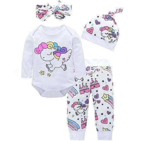 Adorable Baby Girls Unicorn Romper 4 Piece Outfit Set
