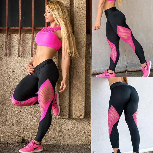 Tight Yoga Women's Fitness Wear Outdoor High Elasticity Mesh Running Quick Dry Pants