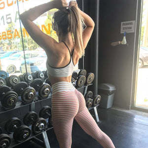 New Womens Workout Striped Leggings