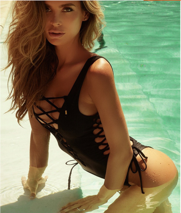 Model in one piece sexy black swimsuit