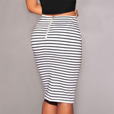 High waist striped lace tight hip skirt