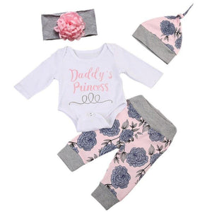 Baby Girls Cotton Regular Full Sleeve O-Neck Floral Pattern Pullover Cotton Blends Clothes Set