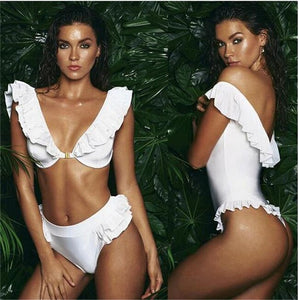 Summer Sexy Solid Color Ruffles Bikini Deep V Elegant Womens Swimwear