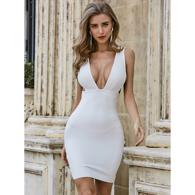 The Ultimate Little White Bodycon Plunging V Mini Dress