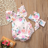 Classic Style Baby Girls Romper and Matching Headband