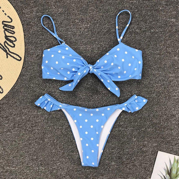 Womens Baby Blue and Red Polka Dot Bikini Push Swimwear Sets - Loving Lane Co