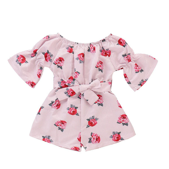 Casual Toddler Baby Girl Romper Floral Sunsuit Summer Outfits One Piece - Loving Lane Co