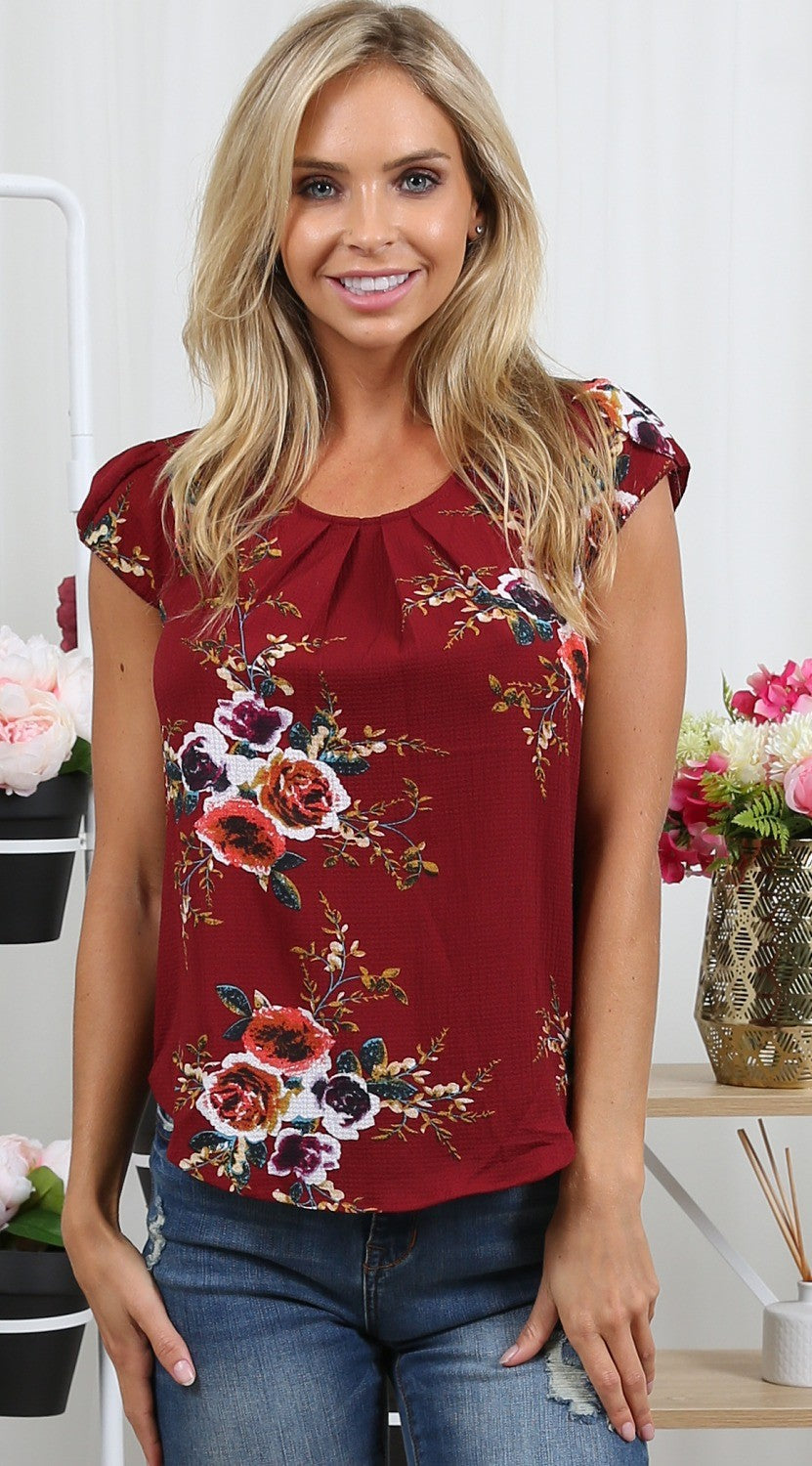 Women's floral Mid Sleeve Top in 5 Colors