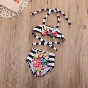 Flower Striped Halter 2pc Swimsuit