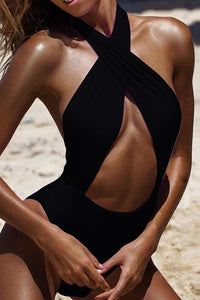 Sexy One Piece Swimsuit Deep V Neck swimwear in 4 colors