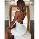 Sexy Bandage Dress Backless Mini Dress in Black, Red, and White