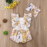 Adorable Baby Girls Floral Rompers with Matching Head Bands