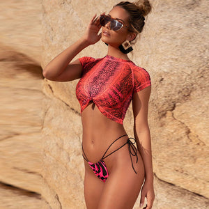 Three Piece Yellow Lime and Pink Bikini Set Snake Print See Through Mesh Beach Set