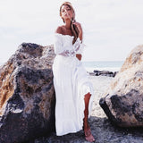 Summer Boho White Dress Bohemian Off Shoulder Maxi Summer Dress