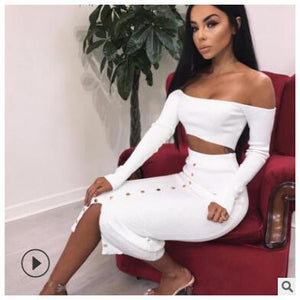 Womens Sexy Classy Off Shoulder Crop Top Long Skirt 2 Piece Set