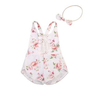 Baby Girl cute Floral Romper and matching headband
