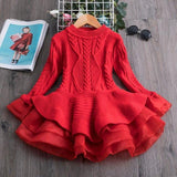 Toddler Girls Dresses Adorable Knit Christmas Party Long Sleeve Dresses