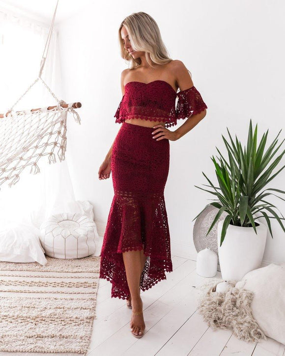 Womens Lace Off Shoulder Strapless Two Piece Skirt and Top