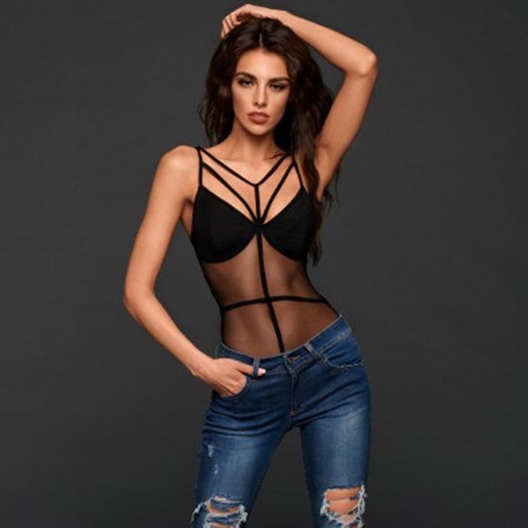 Mesh hollow out black sexy bodysuit Women bodysuits bandage transparent strap party club bodysuit