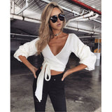 Women Winter Knitted Solid Sweater Crop Top