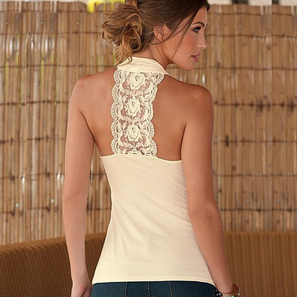 Women Halter Neck Strapless Sexy Backless Lace Top