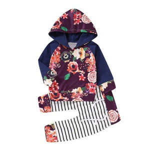 Baby Girls Full Sleeve Floral Hooded Sweatshirts and Pants