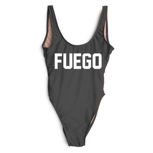 Red FUEGO Print Letter One Piece Swimsuit Sexy Swimwear Beach Bathing Suit