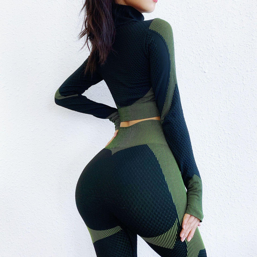 Women's Two Piece Workout Set Long Sleeve Zipper  Yoga Shirt Leggings Workout Wear - Loving Lane Co