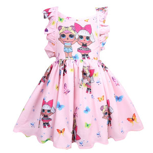 LOL Surprise Dolls Dresses Toddler Girl LOL Surprise Dress in Pink Purple Blue