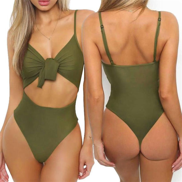 New One Piece Swimsuit Bow Knot Womens Bikini in 4 Colors