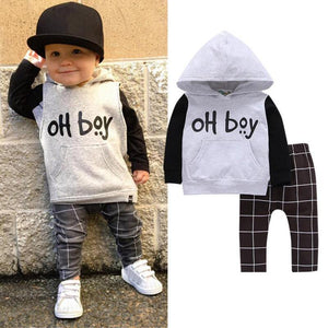 Baby Boys Cotton Full Sleeve Letter Pattern O-Neck Covered Button Closure Regular clothes Sets