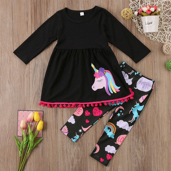 Toddler Girl Clothing Unicorn 2 Piece Outfits T Shirt and Leggings