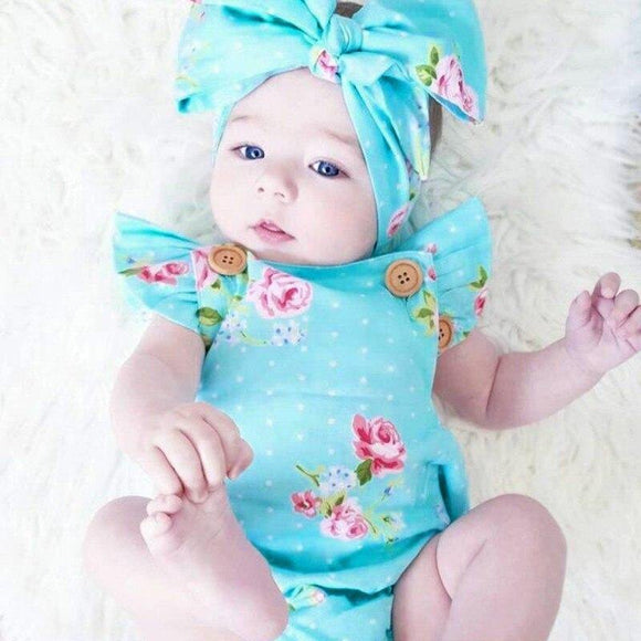 Baby Girls Sleeveless Solid O-Neck Cotton Floral Bodysuit Baby Romper