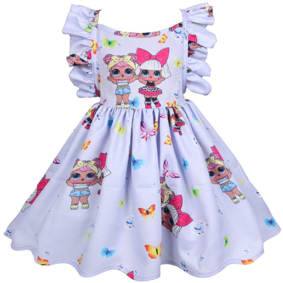 LOL Surprise Dolls Dresses Girl Birthday Party LOL Dress in Pink Purple Blue