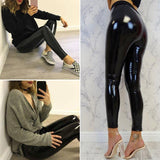 Women's High Waist PU Leather Pants Black Leggings Pencil Pants - Loving Lane Co