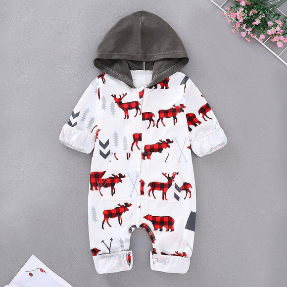 Baby Boy Red and Black Moose Holiday Romper Christmas Onesie