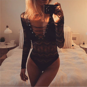 Womens Bodysuit Black and Pink Lace Leotard Top Women Shirts