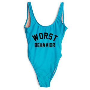 WORST BEHAVIOR One Piece Swimsuit Bride Squad Swimwear Women High Cut Low Back