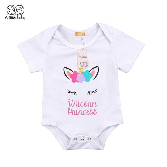 Baby Girls Summer Unicorn Flower Bodysuit For Newborns - Loving Lane Co