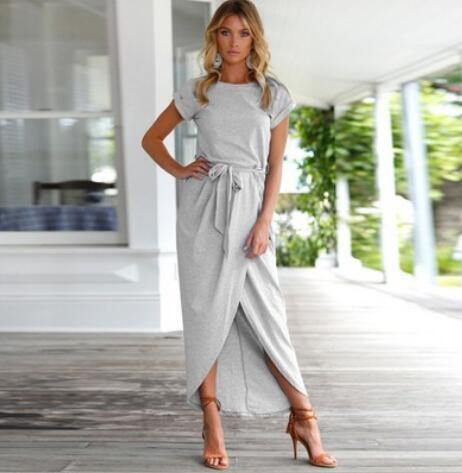 Women's Chic High Slit Dresses in Grey, Navy, and Dark Green - Loving Lane Co