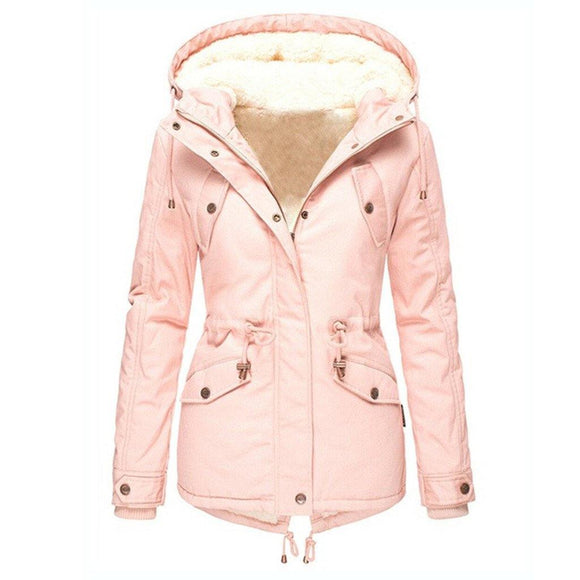 Women's New Winter Coats Solid Color Hooded Jackets - Loving Lane Co