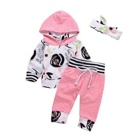 Baby Girls Full Sleeve Cotton Floral Hooded Sweatshirt and Pants - Loving Lane Co