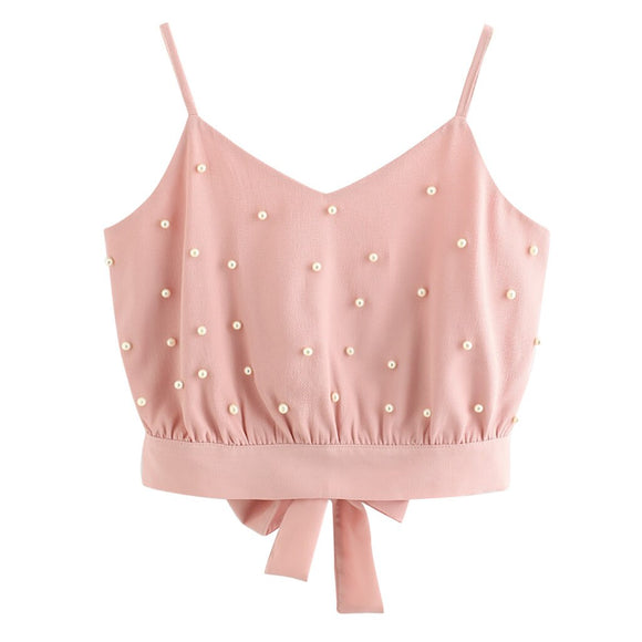 Women's Chiffon Fashion Sleeveless Pink Vest Tops