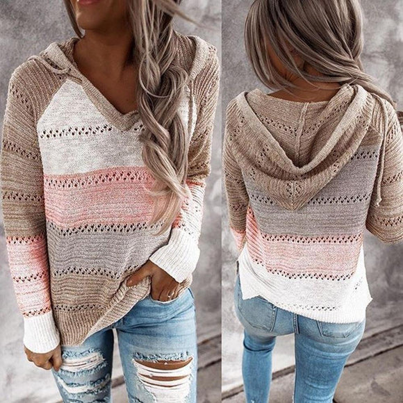 Fall Sweaters Womens Long Sleeve V Neck Casual Knitted Sweater Hoodie - Loving Lane Co