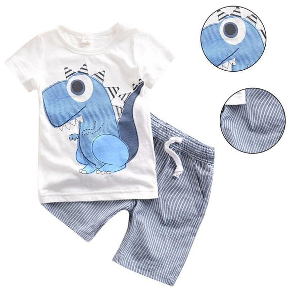 Boys O-Neck Cartoon Pattern Cotton Regular Short Sleeve Casual Clothing Set