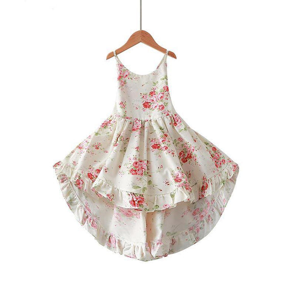 Baby Girls A-Line Regular Sleeveless Square Collar Knee-Length Floral Print Pattern Cotton Dresses