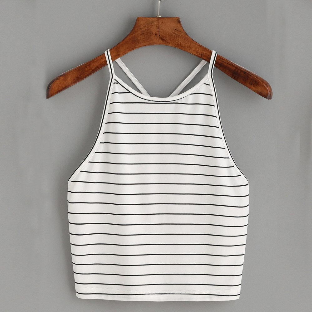 Women Fashion Striped Cotton Vest Tops