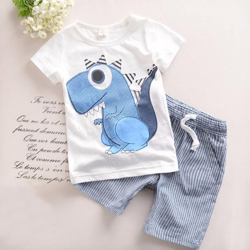 Boys Cotton Short Sleeve Regular Pullover O-Neck Casual Clothing Set