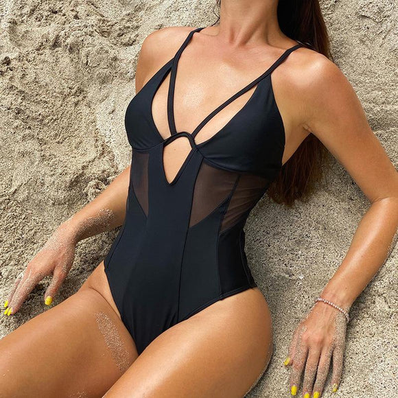 Solid Black Sexy Womens One Piece Swimwear - Loving Lane Co