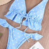Multicolor Ruffled Baby Blue Polked Dot Bikinis - Loving Lane Co